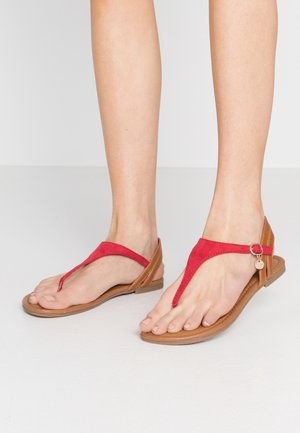 T-bar sandals - red/cognac