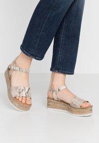 s.Oliver - Platform sandals - grey/beige - 0