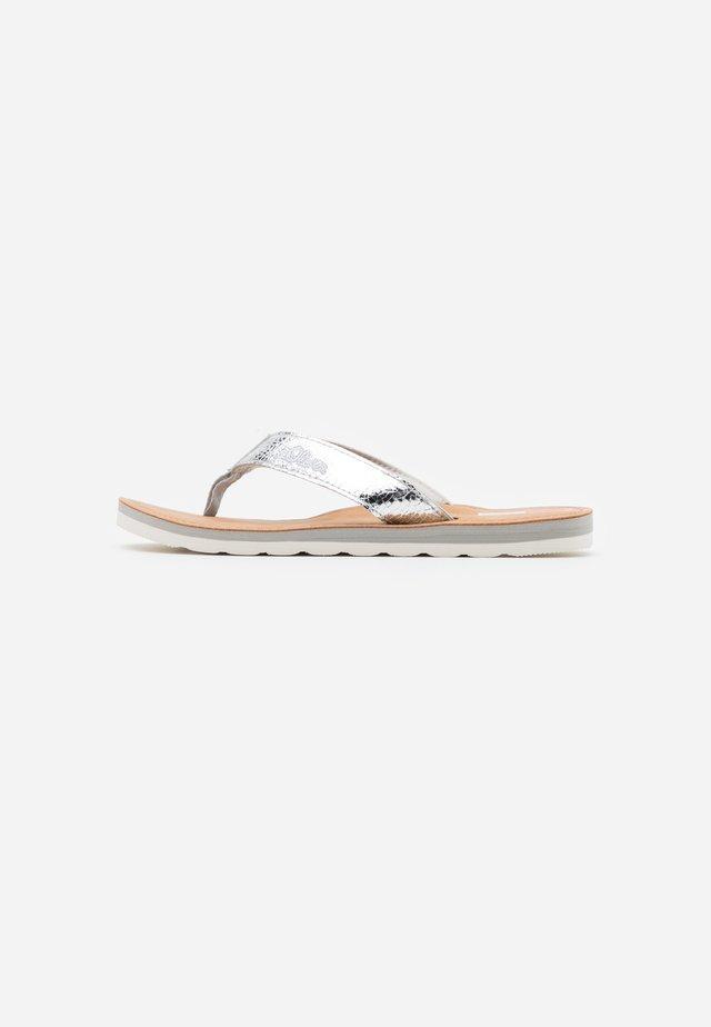 SLIDES - T-bar sandals - silver