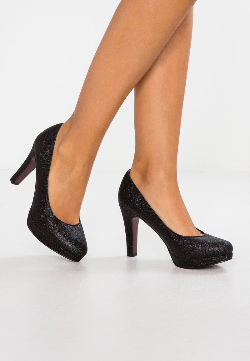 s.Oliver - High heels - black glitter