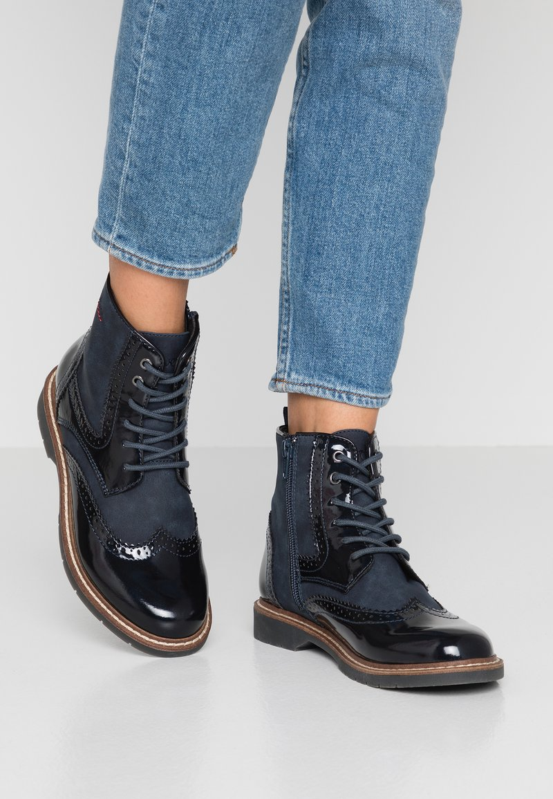 s.Oliver - Lace-up ankle boots - navy
