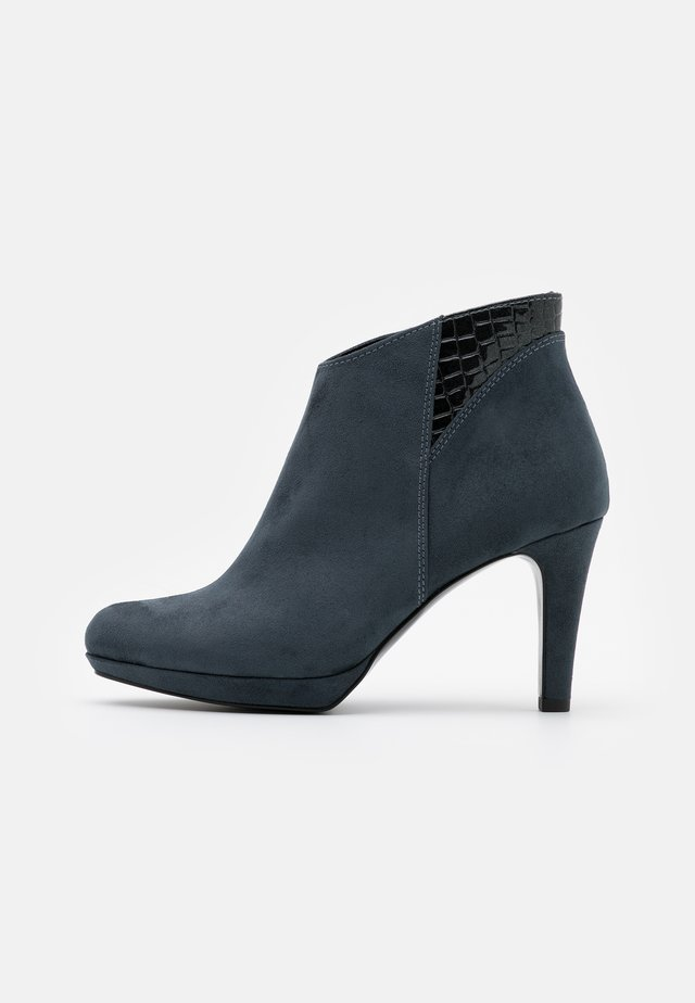 High heeled ankle boots - blue grey