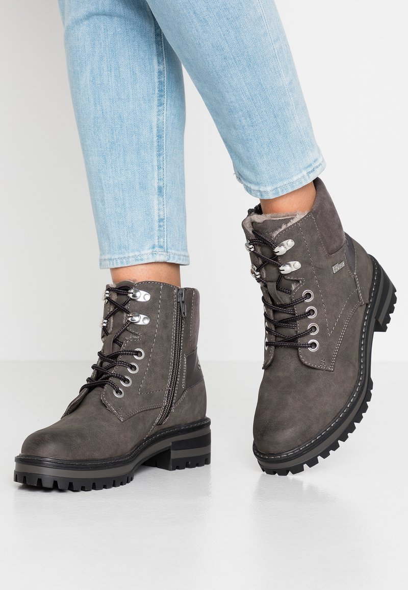 s.Oliver - Lace-up ankle boots - anthracite