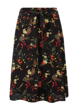 MIT ALLOVERMUSTER - A-line skirt - black flowers aop