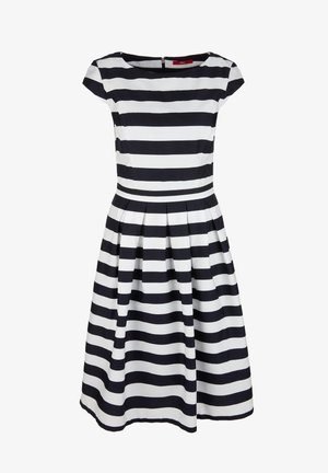 TAILLIERTES KLEID MIT BLOCKSTREIFEN - Day dress - midnight blue stripes