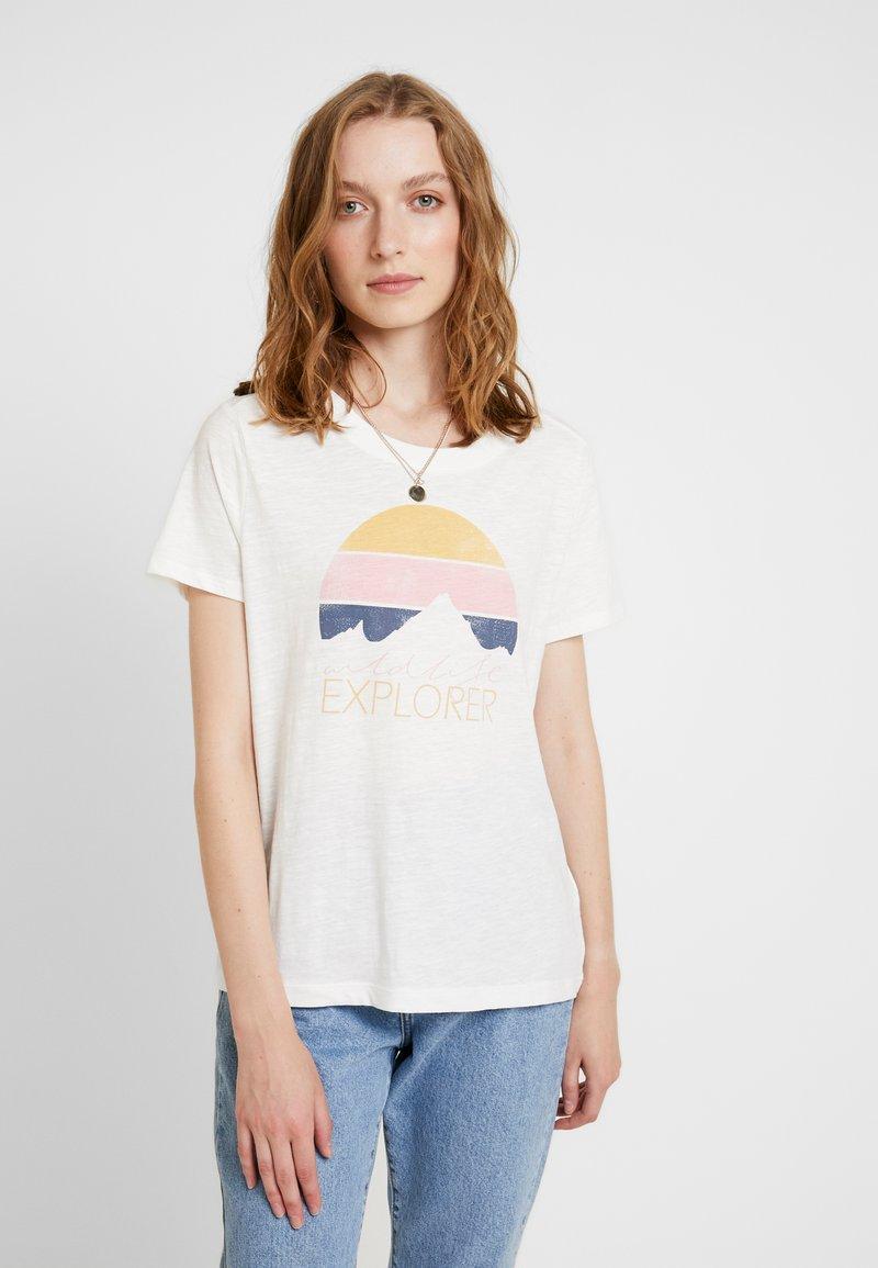 s.Oliver - KURZARM - T-Shirt print - cream