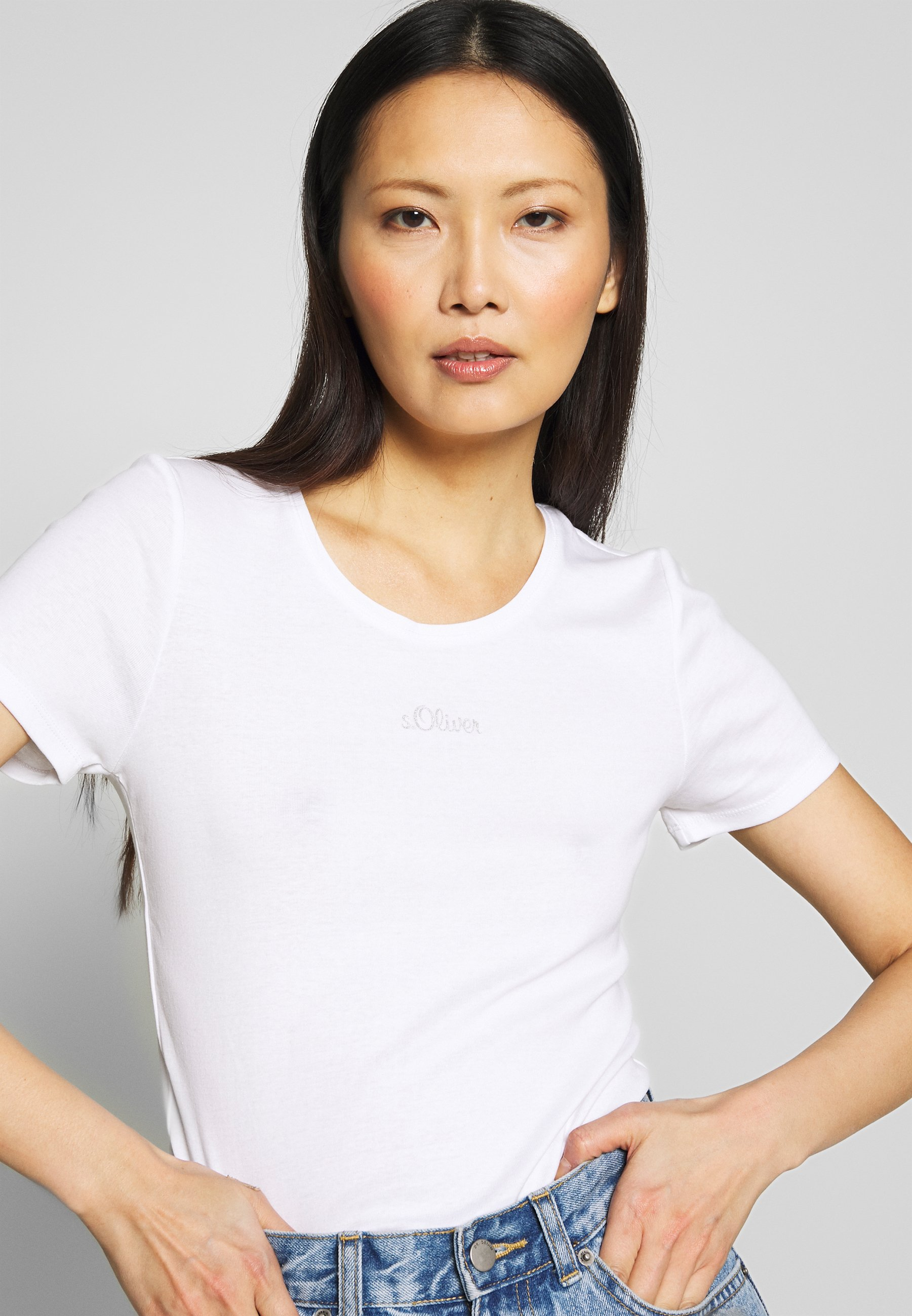 s.Oliver 2 PACK - T-shirts - white/anthracite