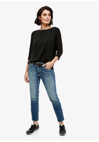 s.Oliver - MATERIALMIX-SHIRT MIT SATIN-FRONT - Blouse - black - 1