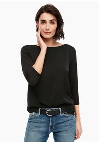 s.Oliver - MATERIALMIX-SHIRT MIT SATIN-FRONT - Blouse - black - 0