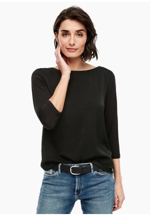 MATERIALMIX-SHIRT MIT SATIN-FRONT - Blouse - black