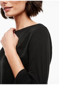 s.Oliver - MATERIALMIX-SHIRT MIT SATIN-FRONT - Blouse - black - 3