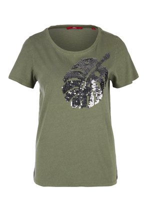 T-shirt print - khaki placed sequins