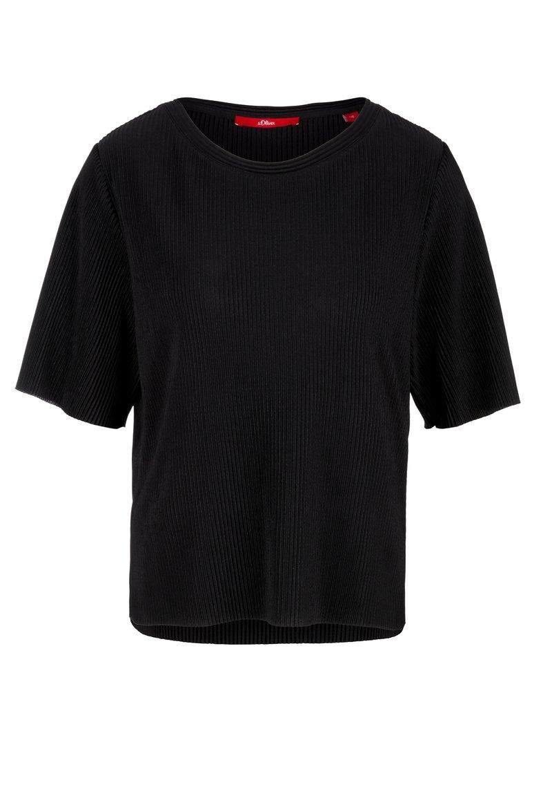 s.Oliver - PLISSEEFALTEN - Basic T-shirt - black