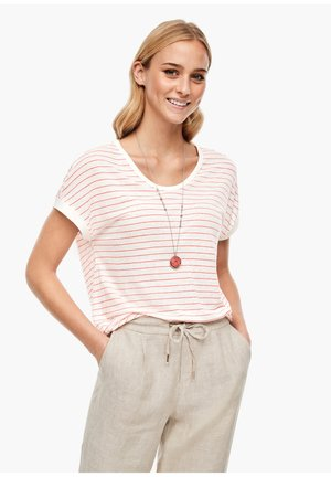 Print T-shirt - cream/coral stripes