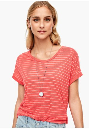 T-shirt print - coral/cream stripes