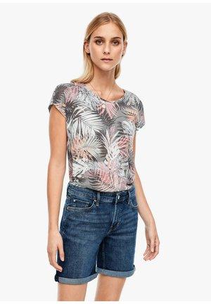 Print T-shirt - black floral print