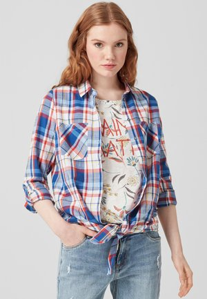 MIT KNOTEN - Button-down blouse - royal blue check