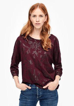 MIT GLITZERBUND - Long sleeved top - burgundy floral print