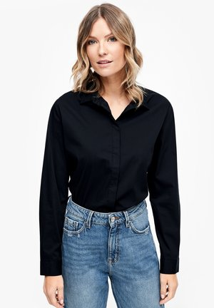 MIT KNOPF DETAIL - Button-down blouse - black