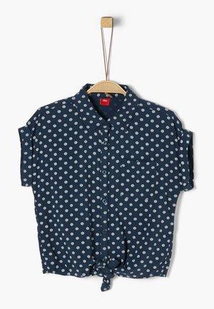 BLUSE KURZARM - Button-down blouse - dark blue aop