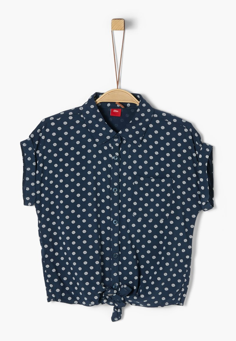 s.Oliver - BLUSE KURZARM - Button-down blouse - dark blue aop