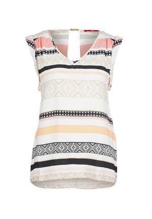 MIT SCHMUCKPERLEN - Blouse - cream stripes