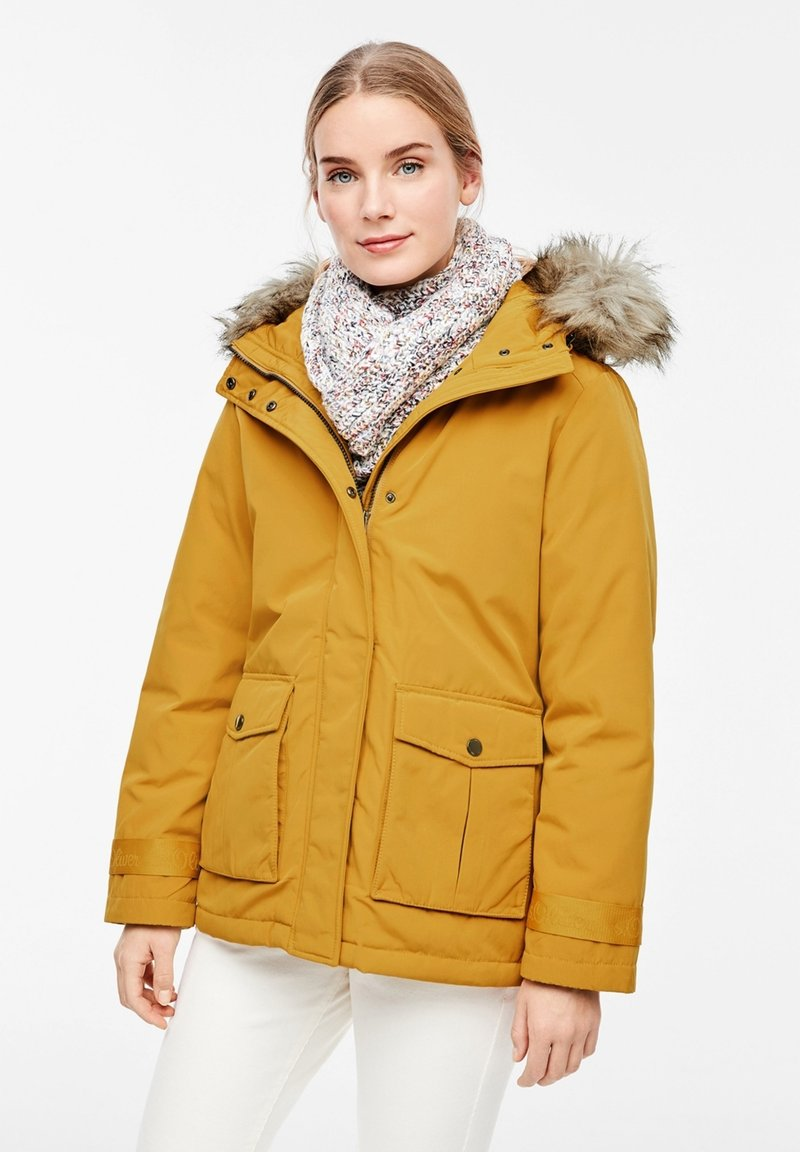 s.Oliver - MIT FAKE FUR-DETAIL - Light jacket - dark yellow