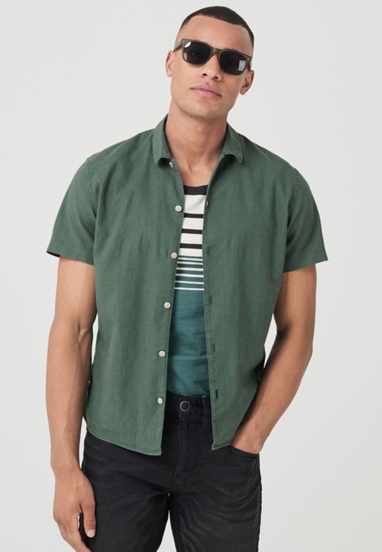 s.Oliver - KURZARM - Overhemd - metal green