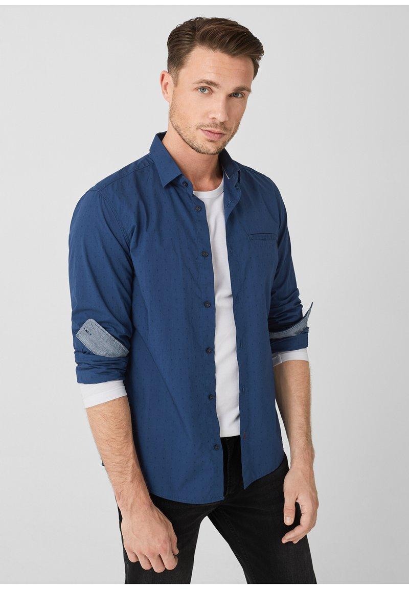 s.Oliver - MIT STRUKTURMUSTER - Shirt - dark blue