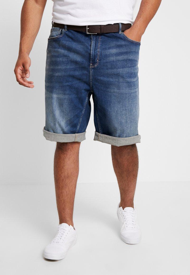 s.Oliver - Jeans Short / cowboy shorts - blue denim stretch
