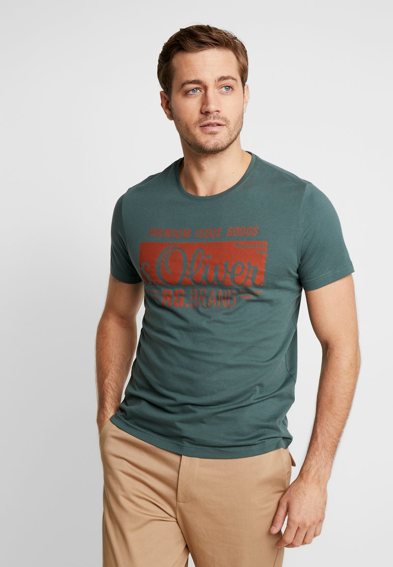 s.Oliver - KURZARM 2 PACK - T-Shirt print - green