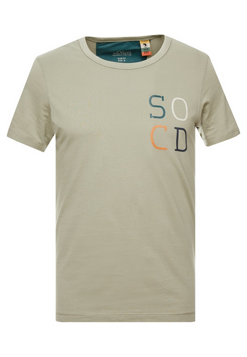 s.Oliver - KURZARM - T-shirt con stampa - stone green