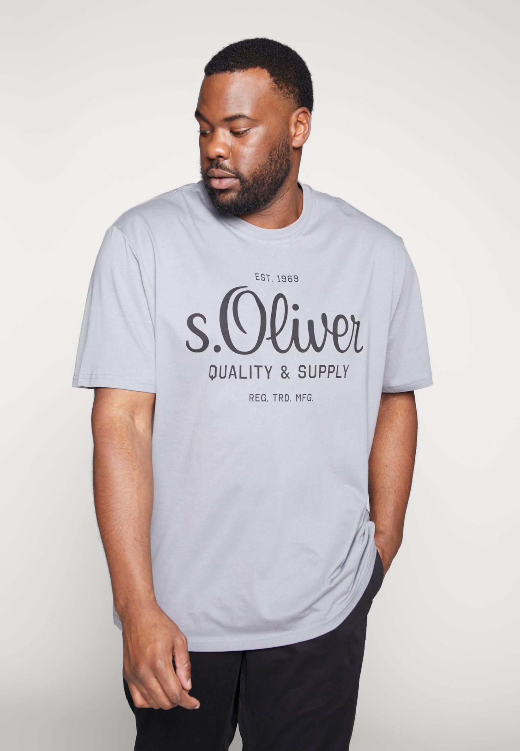 s.Oliver KURZARM - T-shirt z nadrukiem - ice grey