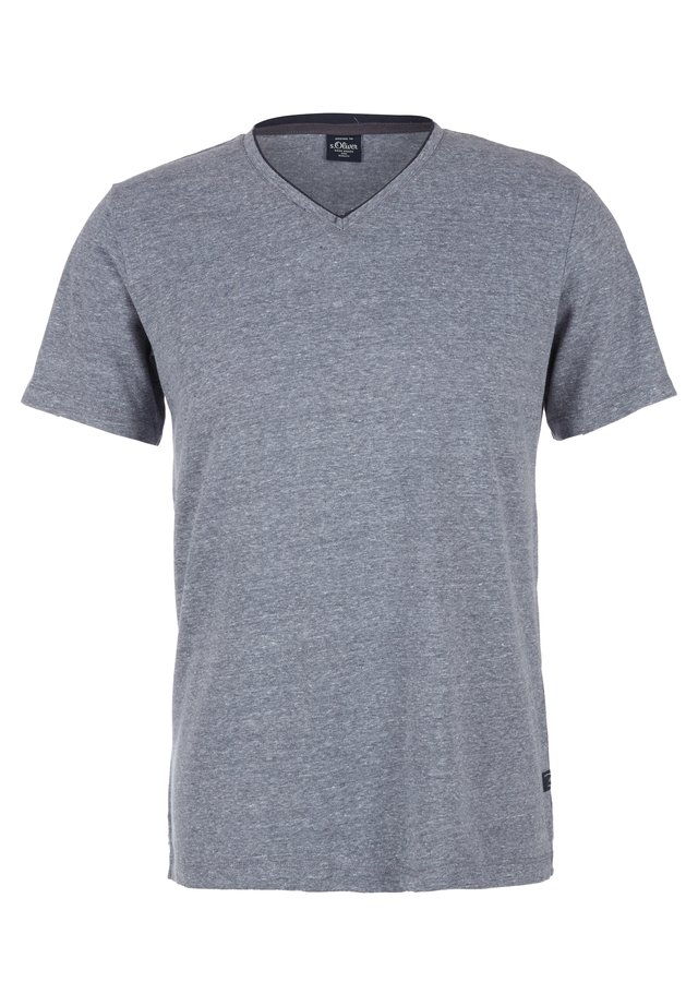 MIT V-NECK - T-Shirt basic - dark blue melange