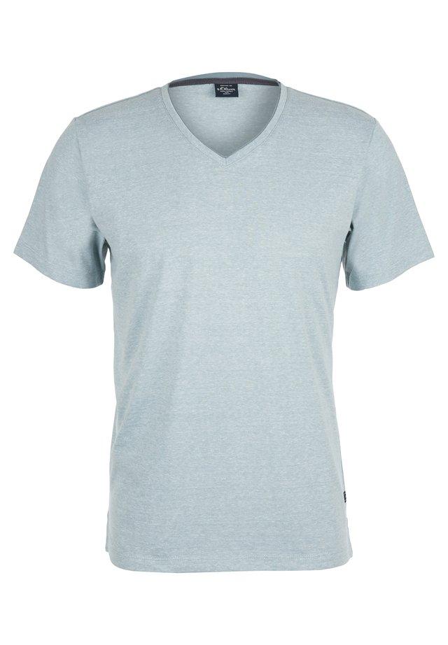 MIT V-NECK - T-Shirt basic - petrol melange