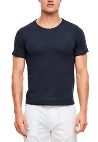 s.Oliver - MIT SLUB YARN-STRUKTUR - Basic T-shirt - dark blue - 4