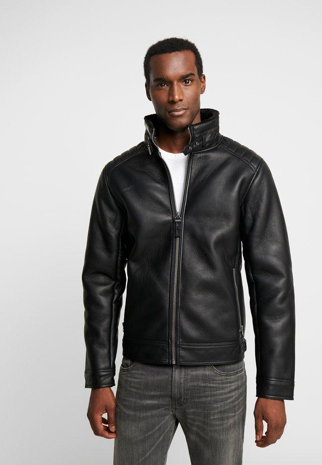 OUTDOOR - Imitatieleren jas - black