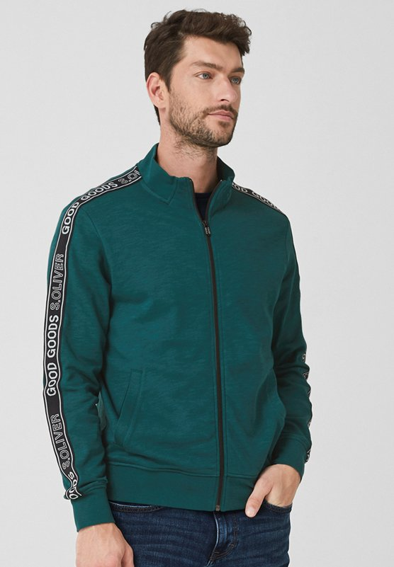 s.Oliver - MIT TAPE-APPLIKATION - Sweatjacke - teal