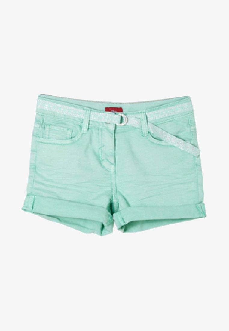 s.Oliver - MIT GLITZERGÜRTEL - Jeans Shorts - mint