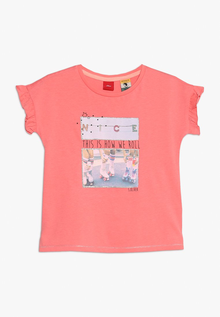s.Oliver - KURZARM - T-Shirt print - coral red