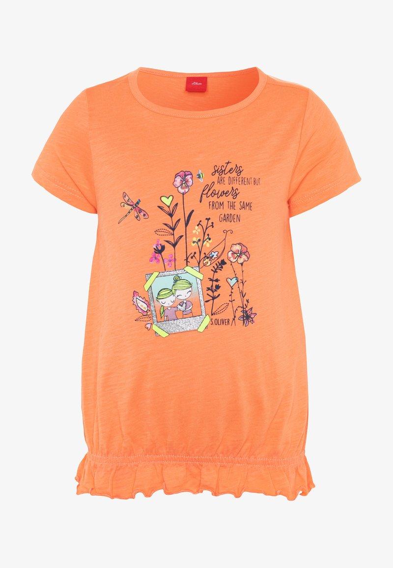 s.Oliver - KURZARM - T-shirt imprimé - orange