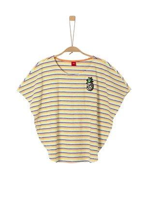 MIT FLÜGELÄRMELN - Print T-shirt - cream stripes