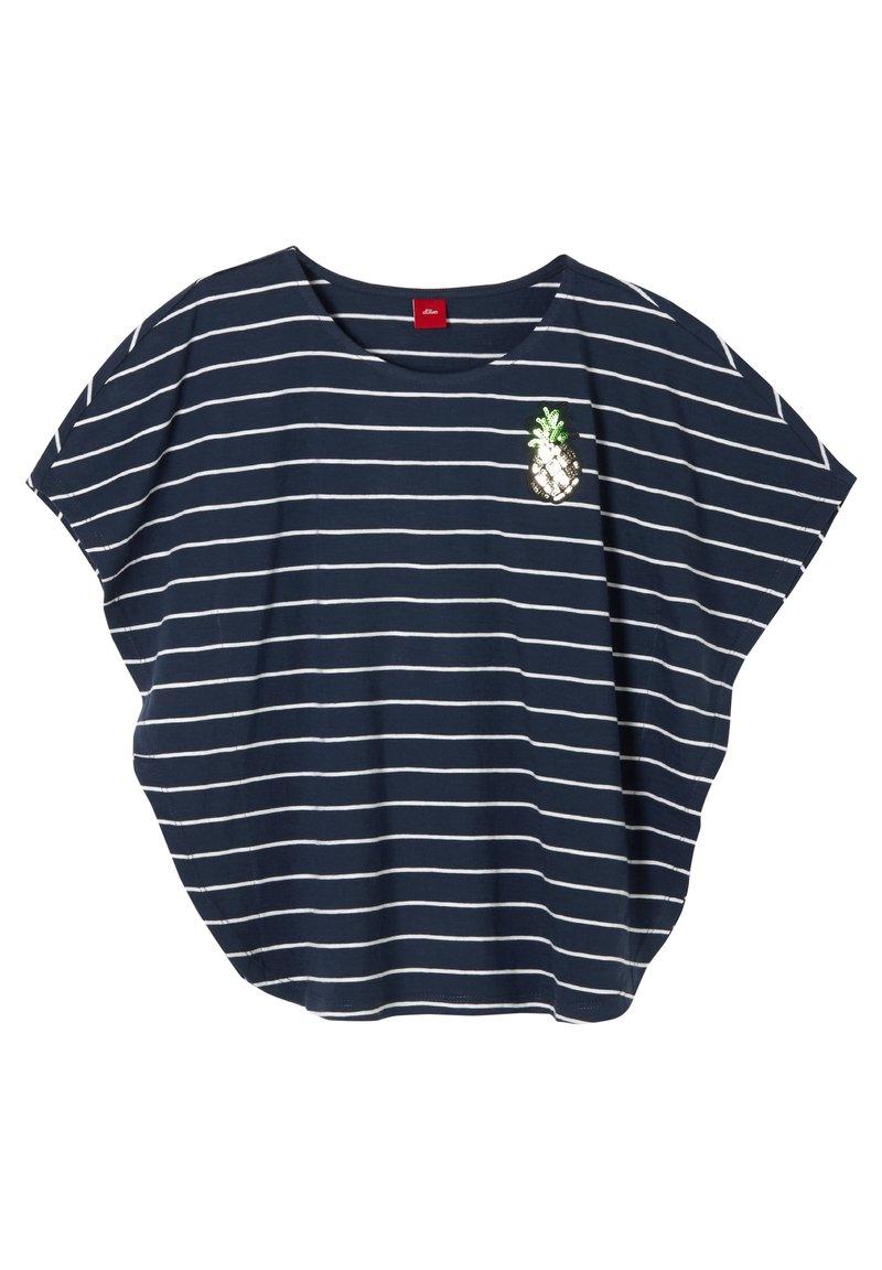 s.Oliver - MIT FLÜGELÄRMELN - Print T-shirt - dark blue stripes