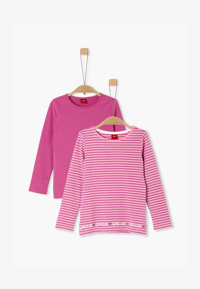 2ER PACK - Long sleeved top - pink uni/pink stripes