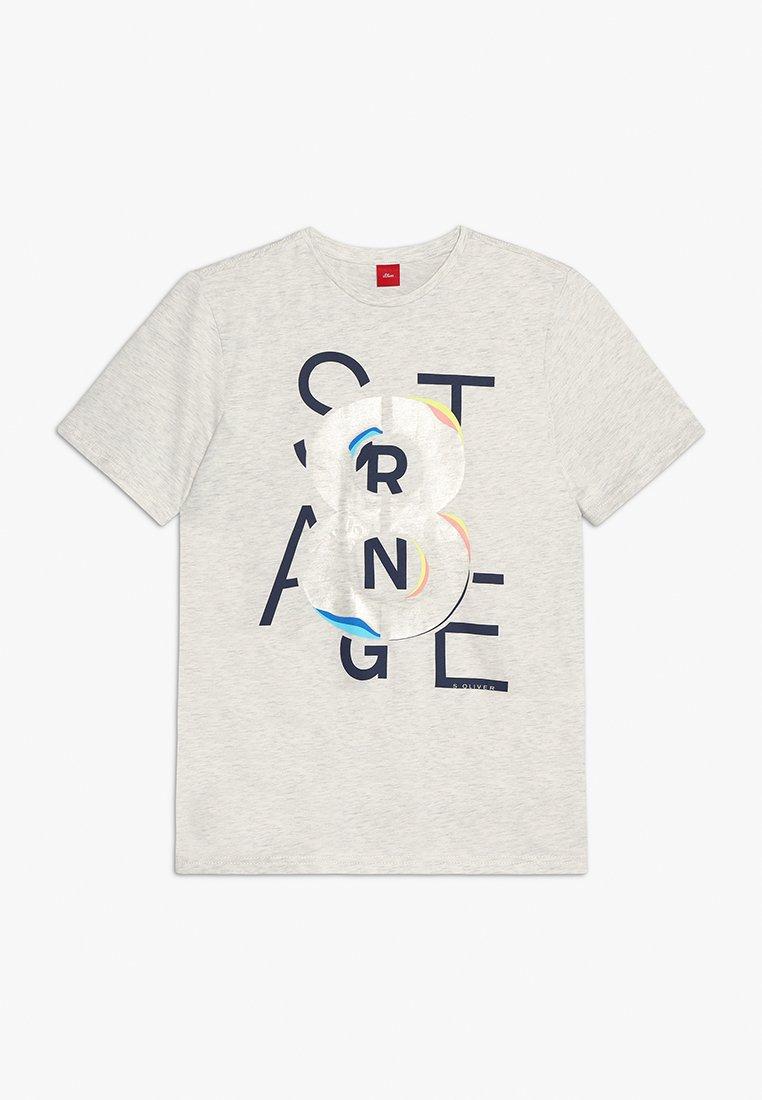 s.Oliver - KURZARM - Print T-shirt - ecru melange