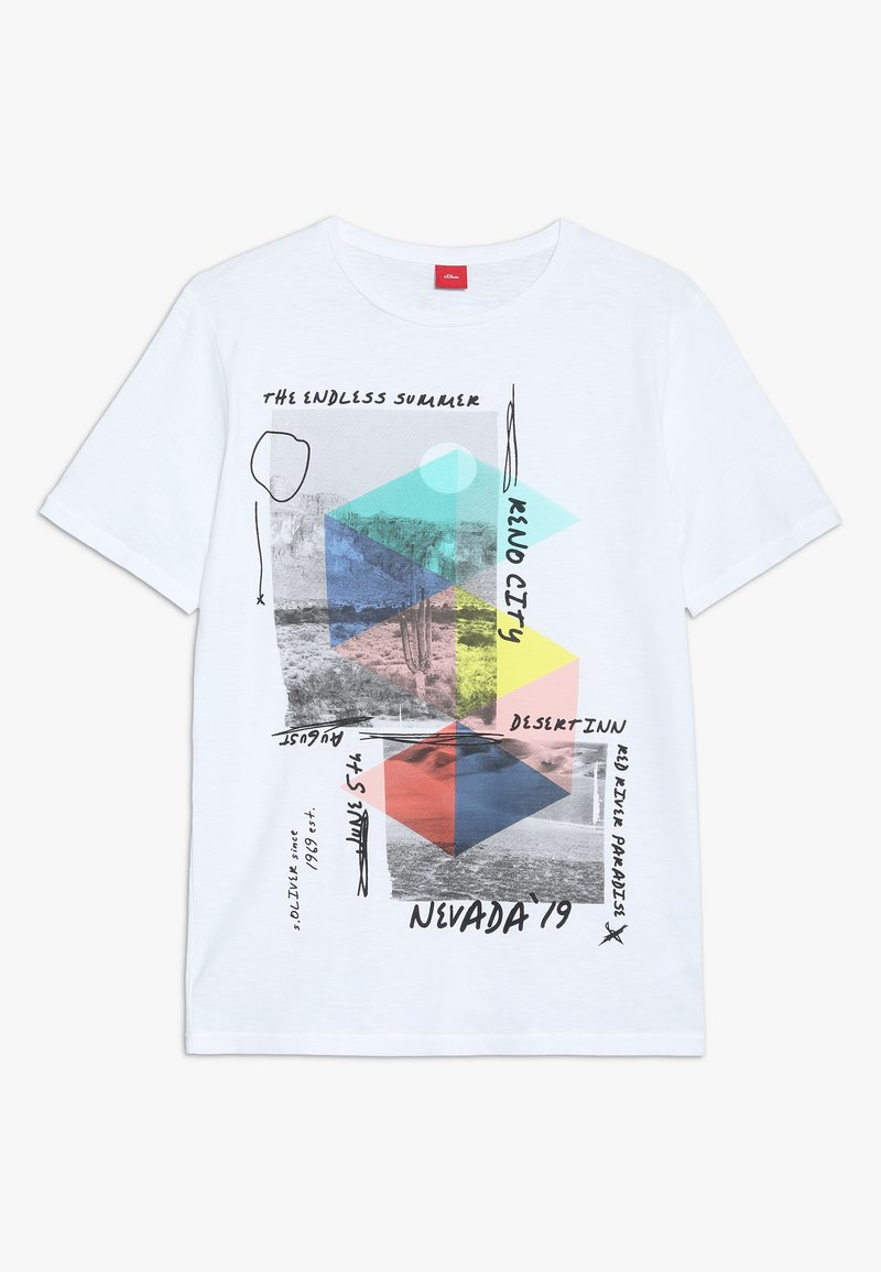 s.Oliver - KURZARM - T-shirt con stampa - white