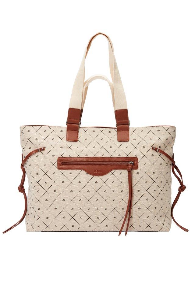SHOPPER MIT TRAGEHENKELN - Shopping Bag - beige/black logo aop