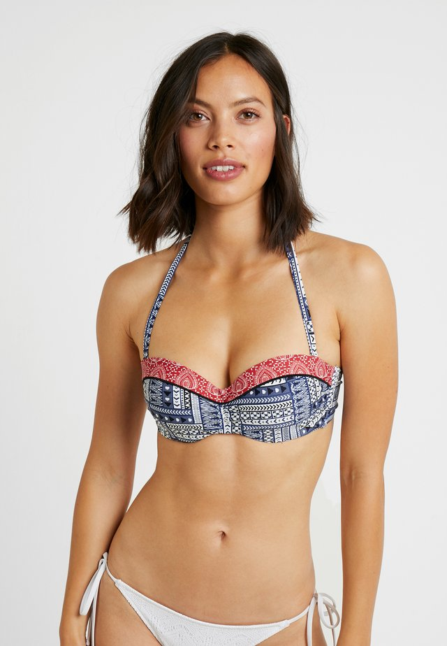 WIRE BANDEAU - Bikinitop - blue/red
