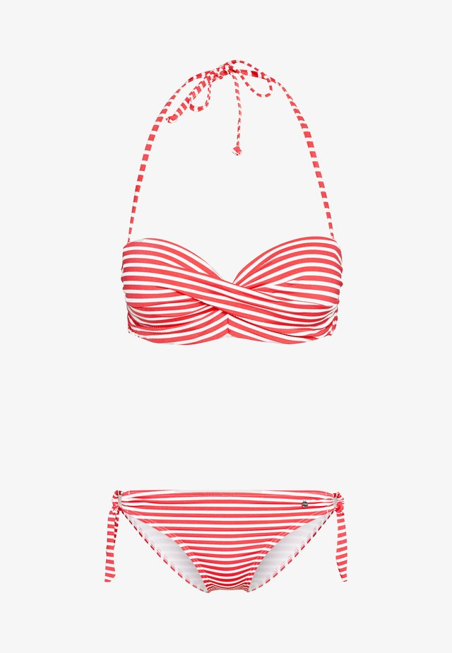 WIRE BANDEAU SET - Bikiny - red