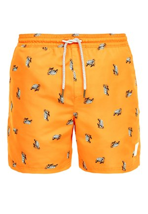 Swimming shorts - orange aop turtles